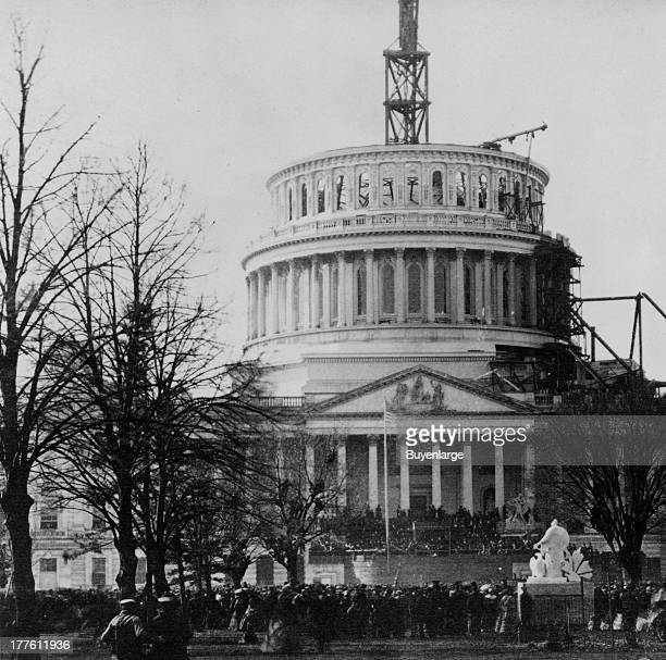 View of the inauguration of President Abraham Lincoln under the unfinished dome of the Capitol Washington DC March 4 1861