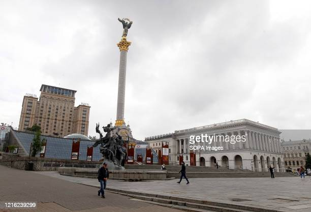 A view of the Independence Square amid coronavirus crisis Ukraine's government Plans to introduce adaptive quarantine across the country from 22 May...