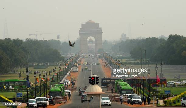View of the India Gate as air quality improves, at Rajpath on November 28, 2019 in New Delhi, India.