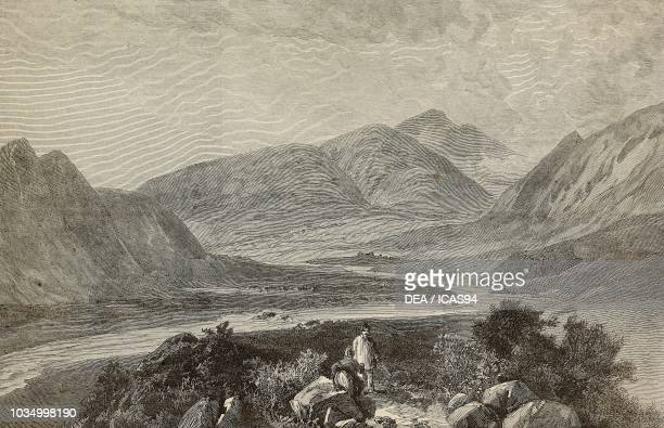 View of the Indus Valley with the Black Mountain in the distance Hazara Pakistan engraving after a sketch by G N Cave from The Illustrated London...