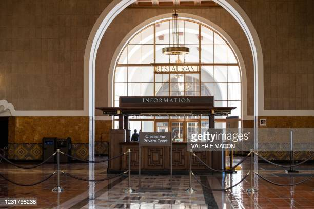 View of the information booth at the main entrance of Downtown Los Angeles Union Station on March 18 where part of the 2021 Oscars Ceremony will take...