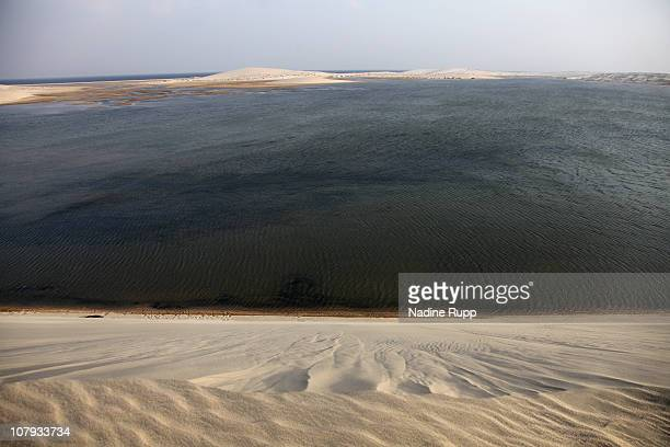 View of the Inland Sea area where a salt water bay for about 20 kilometers is sourrounded by desert on December 27 2010 in Khor al Udaid Qatar The...