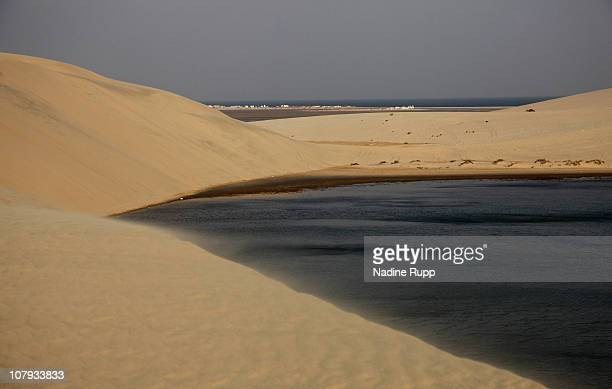 View of the Inland Sea area where a salt water bay for about 20 kilometers is surrounded by desert on December 27 2010 in Khor al Udaid Qatar The...