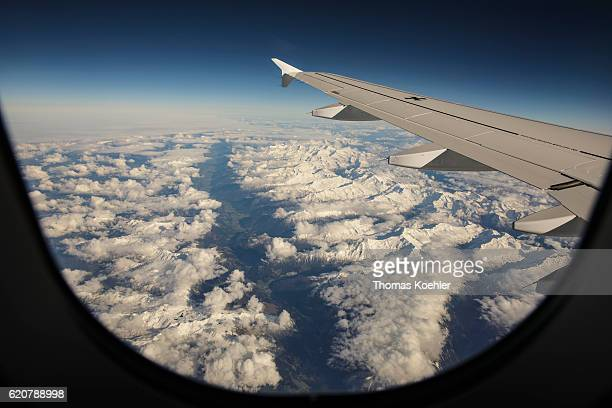 View of the Inn valley in Austria with its snowy alpine peaks from an airplane A 319 of the German armed forces on October 12 2016 in Inn Valley...
