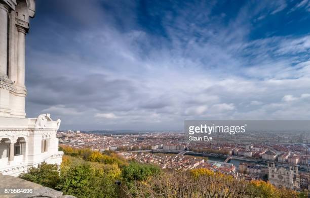 view of the inner city of lyon taken from the fourvière hill in rhône department of france. - auvergne rhône alpes stock photos and pictures