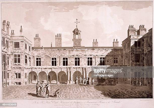 View of the inner courtyard at Somerset House London 1777 with a carriage and sedan chair Somerset House was designed by William Chambers and built...