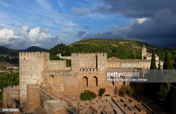 A view of the inner patio of the Alcazaba fortress from above, in Granada, Andalusia, Spain from Above