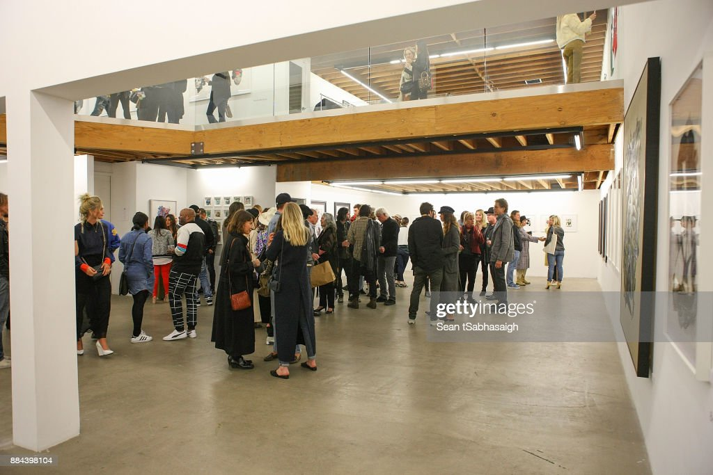 A view of the inside gallery space at OptiMystic: A Brandon Boyd Pop Up Gallery Featuring He, Tasya Van Ree, Natalie Bergman, Diana Garcia And DJ Set By Brent Bolthouse at 101/Exhibit Gallery on December 1, 2017 in West Hollywood, California.