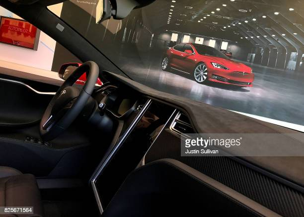 A view of the inside of a a brand new Tesla Model S at a Tesla showroom on August 2 2017 in Corte Madera California Tesla will report secondquarter...