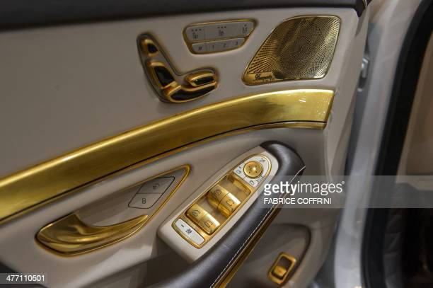 A view of the inside of a Carlsson CS50 Versailles edition car model at the stand of the German car tuning company during the Geneva Motor Show on...