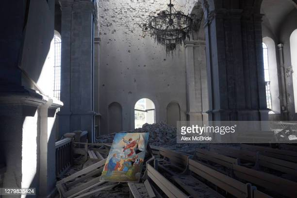 View of the inside of a church which was struck twice by UAV strike on October 12, 2020 in Shoushi, Nagorno-Karabakh. On the day after a ceasefire...