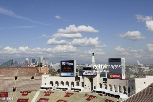 A view of the inside of the Los Angeles Memorial Coliseum before the start of the game between the USC Trojans and the Washington State Cougars on...