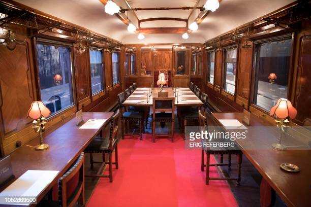 A view of the inside of the reconstructed Compiegne Wagon in which the November 11 1918 'Armistice of Compiegne' ending World War I was signed...