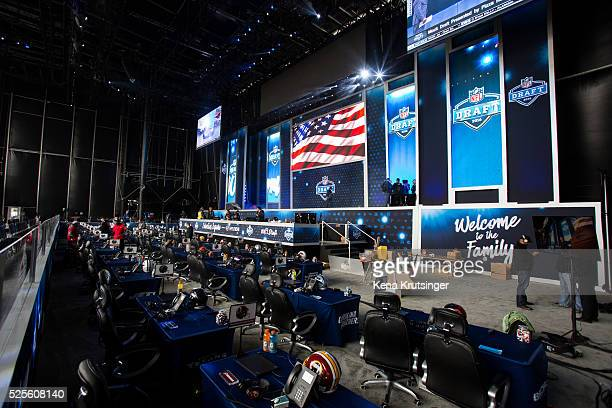 A view of the inside of the stage at the NFL Draft Town prior to the start of the 2016 NFL Draft on April 28 2016 in Chicago Illinois