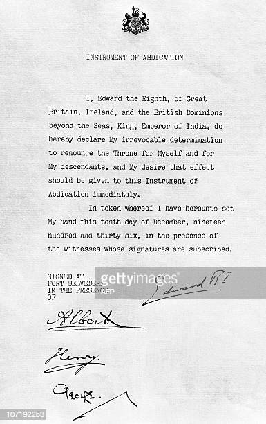 View of the Instrument of Abdication of Edward VIII of England executed by him 10 December 1936, by which he and any of his children are excluded...