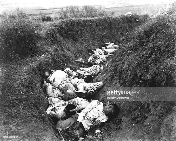 View of the insurgent Filipino dead as they fell in their trenches during fighting in the Philippine-Ameirican War, near Santa Ana, February 1899....
