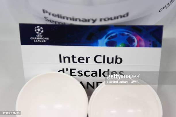 View of the Inter Club d'Escaldes ahead of the UEFA Champions League 2021/22 Preliminary Round draw at the UEFA headquarters, The House of European...