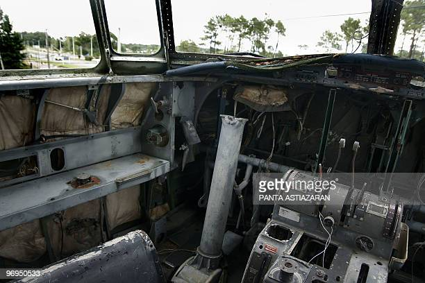 View of the Interbalnearia road from the dilapidated cockpit of a decommissioned Uruguayan Air Force FokkerFairchild F27 similar to the plane that...