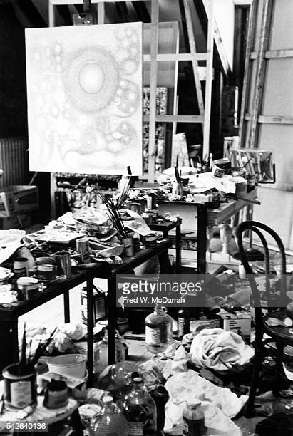 View of the interior of artist Richard PousetteDart's studio Suffern New York February 22 1962 The painting at the center is his work 'From the Mind...