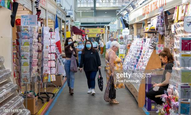 View of the interior of Cardiff indoor Market where a one way system has been put in place to encourage social distancing on June 01, 2021 in...