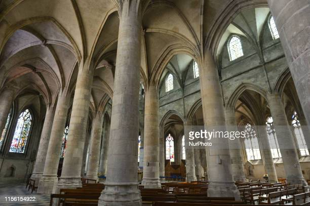 View of the interior of Church of Our Lady of Saint Lo. Saint-Lo was destoyed during the Second World War, after American bombardments caused heavy...