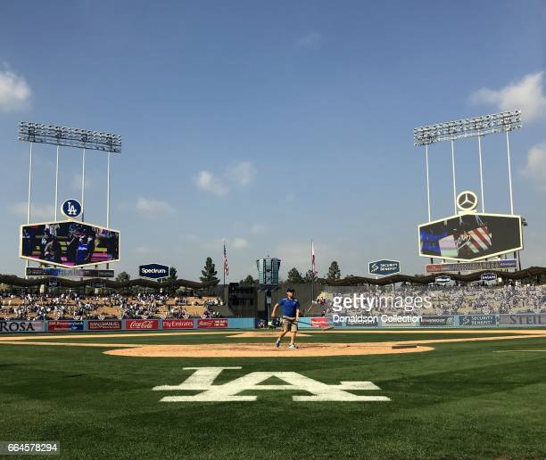 A view of the interior of Dodger Stadium after the Dodgers beat the Padres on opening day of the 2017 season April 3 2017 with a score of 143 at...