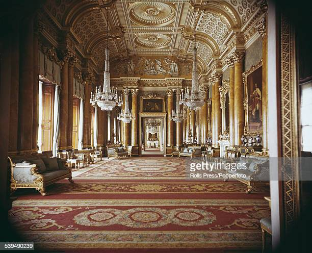View of the interior of the Blue Drawing Room, designed by the architect John Nash and used originally as a ballroom at Buckingham Palace, London...