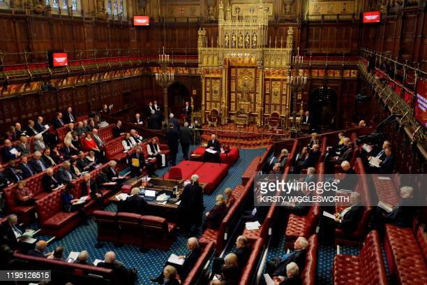 View of the interior of the House of Lords as the European Withdrawal Agreement Bill is debated in London on January 21, 2020. - Britain's House of...