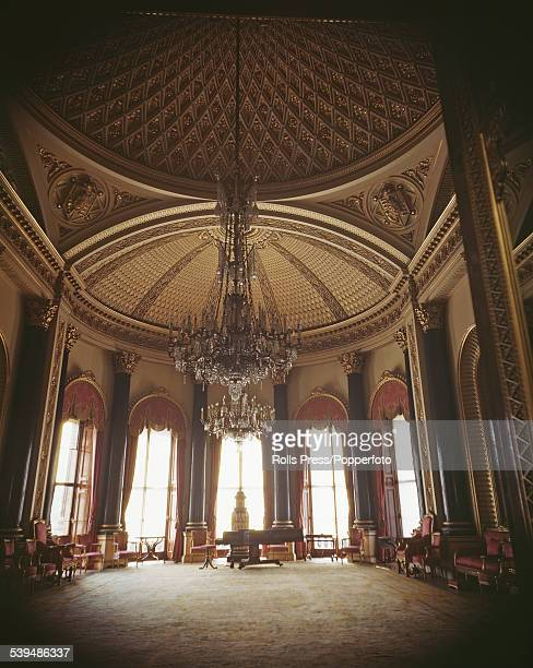 View of the interior of the Music Room designed by the architect John Nash and originally known as the Bow Drawing Room at Buckingham Palace London...