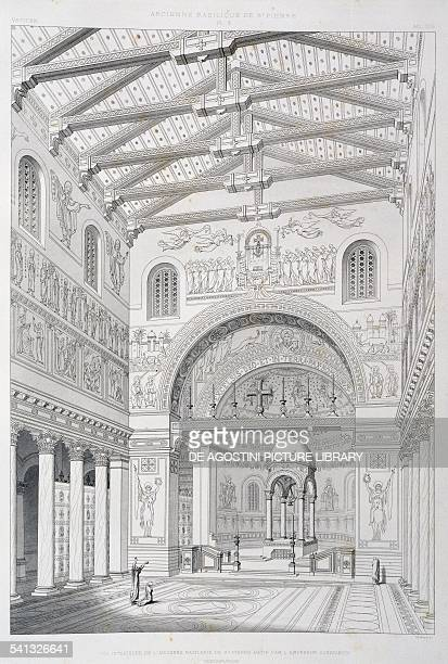 View of the interior of the Old Basilica built by Emperor Constantine engraving from The Vatican and St Peter's Basilica by Paul Marie Letarouilly...