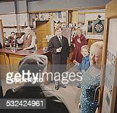 View of the interior of The Rovers Return Inn from the television soap opera Coronation Street featuring the characters of Jack Walker Ken Barlow...
