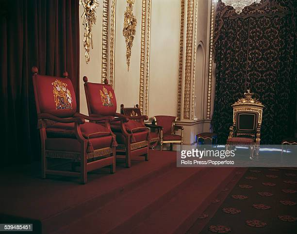 View of the interior of the Throne Room, designed by the architect John Nash and used for investitures and ceremonial receptions at Buckingham...