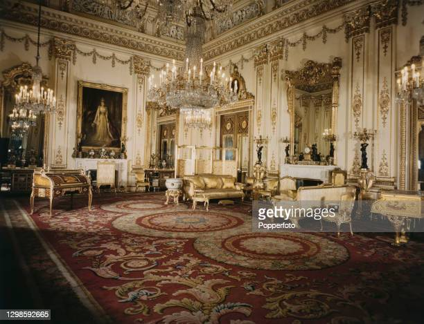 View of the interior of the White Drawing Room, designed by the architect John Nash and used for receptions and audiences at Buckingham Palace,...