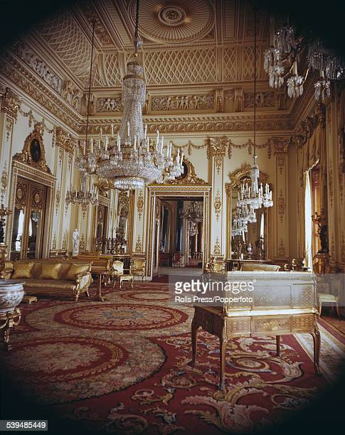 View of the interior of the White Drawing Room designed by the architect John Nash and used for receptions and audiences at Buckingham Palace London...