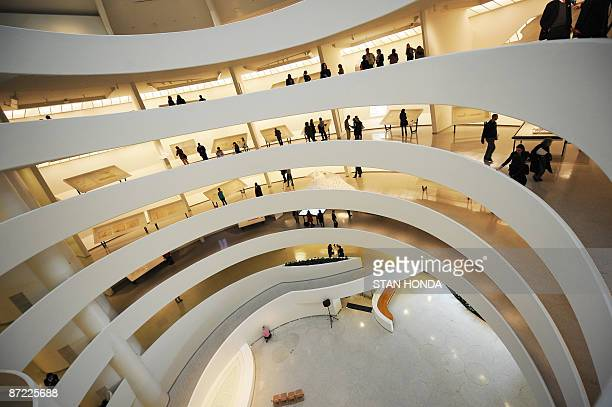 A view of the interior walkways May 14 2009 at the Guggenheim Museum in New York as the museum marks its 50th anniversary with an exhibition Frank...