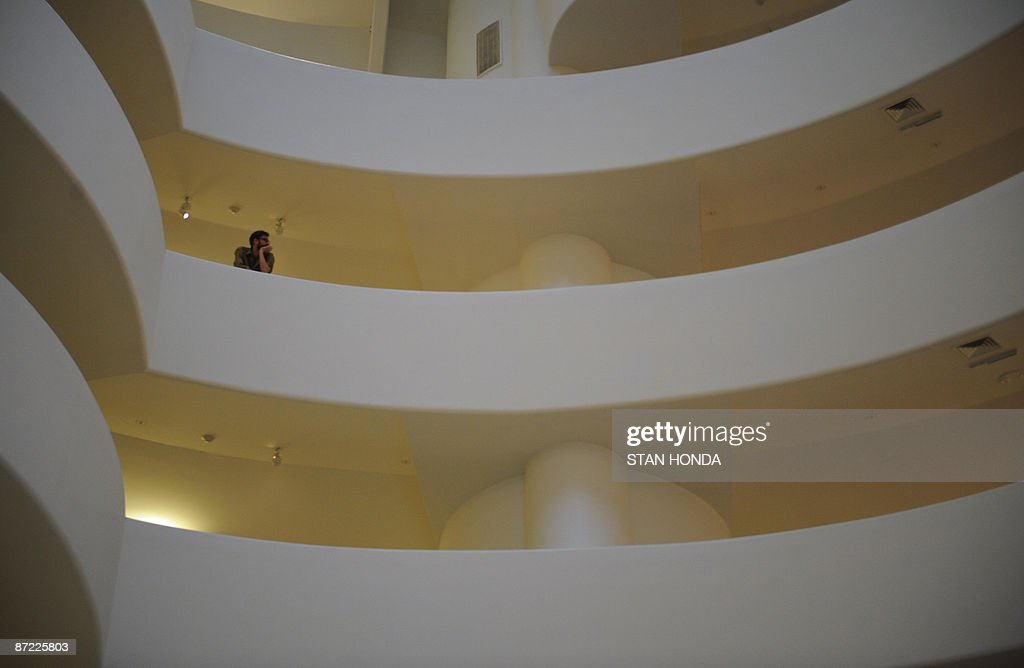 A view of the interior walkways May 14, 2009 at the Guggenheim Museum in New York as the museum marks its 50th anniversary with an exhibition 'Frank Lloyd Wright: From Within Outward'. The building itself was designed by Wright. AFP PHOTO/Stan Honda