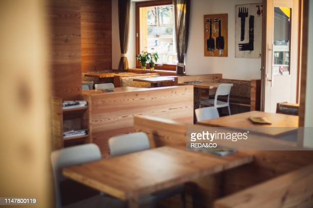 View of the interiors of a typical bar in Canazei. Val di Fassa. Trentino Alto Adige. Dolomites. Italy.