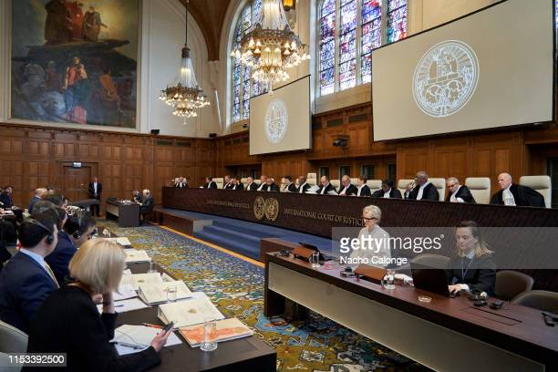 View of the International Court of Justice at the start of hearings on the preliminary objections of the Russian Federation in the case of the...