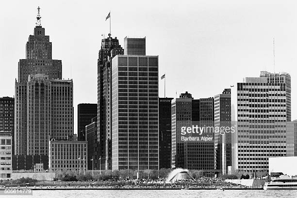 A view of the International Riverfront in Detroit Michigan USA taken from across the Detroit River in Windsor Ontario Canada 1986 On the far left is...