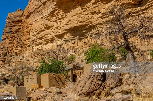 View of the Ireli Dogon village and the Cliffside dwellings of the former Tellem tribe in the Bandiagara Escarpment in the Dogon country in Mali,...