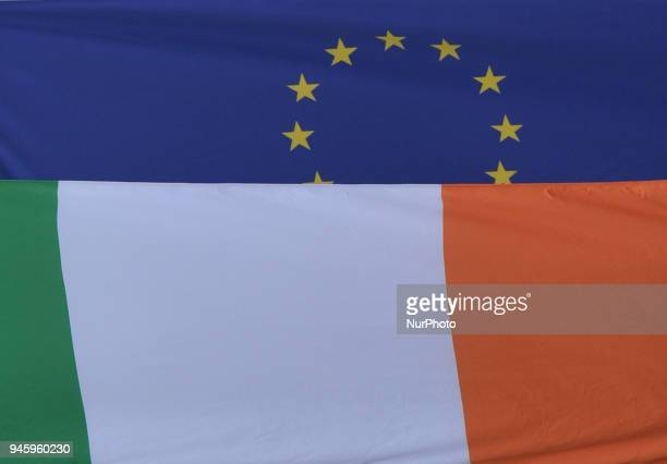 A view of the Irish and the European Union flags seen in Dublin's city center On Friday April 13 in Dublin Ireland