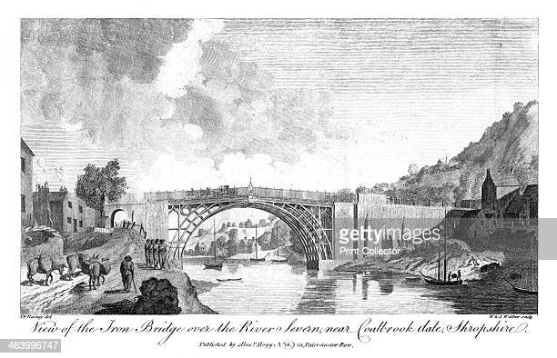 View of the iron bridge over the river Severn Coalbrook Dale Shropshire 19th century The development of coke smelting in Coalbrookdale by Abraham...