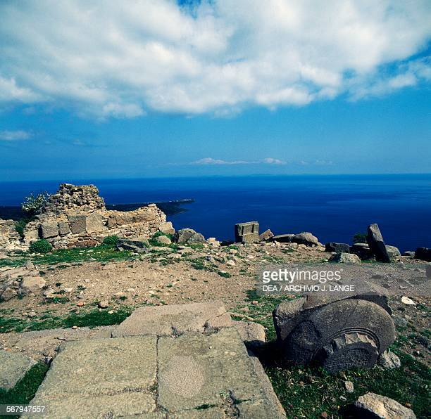 View of the island of Lesbos acropolis in Assos Turkey Greek civilisation