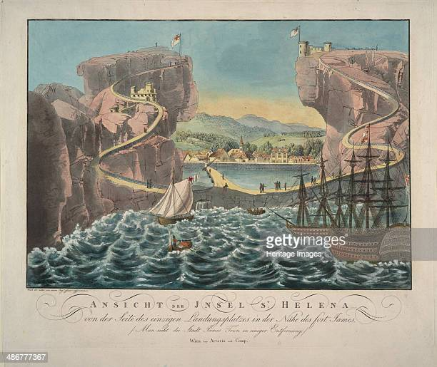 View of the Island of St Helena from the side of the landing place near the Fort James 1815 Artist Anonymous