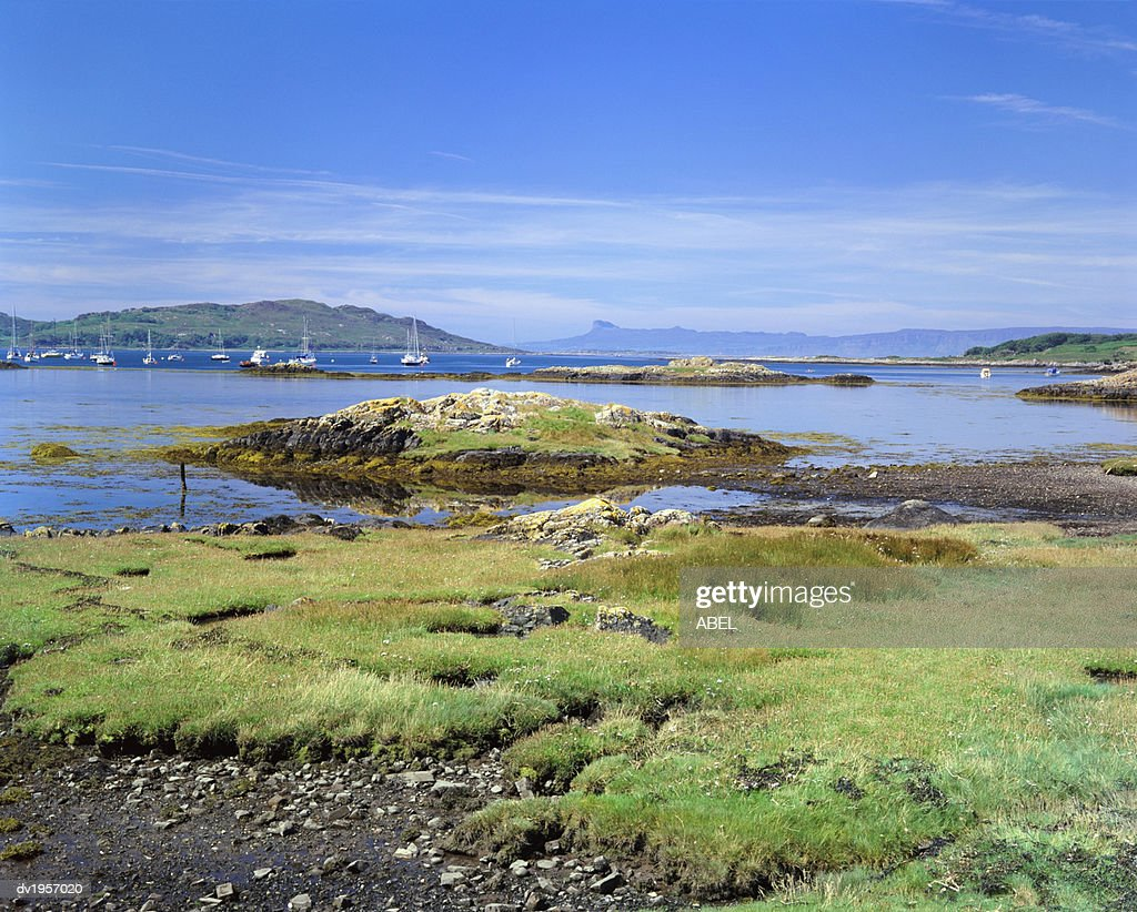View of the Isle of Eigg from Arisaig, South Morar, Scotland : Stock Photo