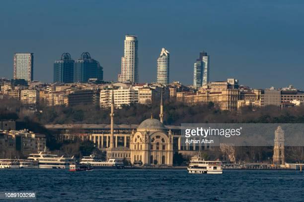 view of the istanbul skyline, turkey - vodafone arena türkei stock-fotos und bilder