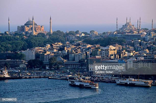 View of the Istanbul Strait with the Hagia Sophia and the Sultan Ahmed Mosque popularly known as the Blue Mosque for the blue tiles adorning the...