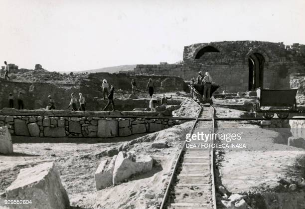 View of the Italian archaeological mission's excavations on the Acropolis of Amman, Jordan, 1928-1930.