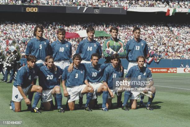 View of the Italy national team posed together prior to playing in the 1994 FIFA World Cup Group E match between Italy and Norway at the Giants...