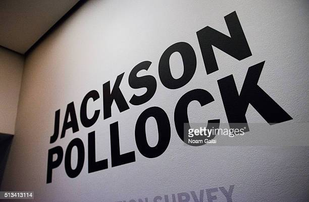 View of the Jackson Pollock exhibit as seen during the 2016 Museum Of Modern Art Armory Party at MOMA on March 2, 2016 in New York City.